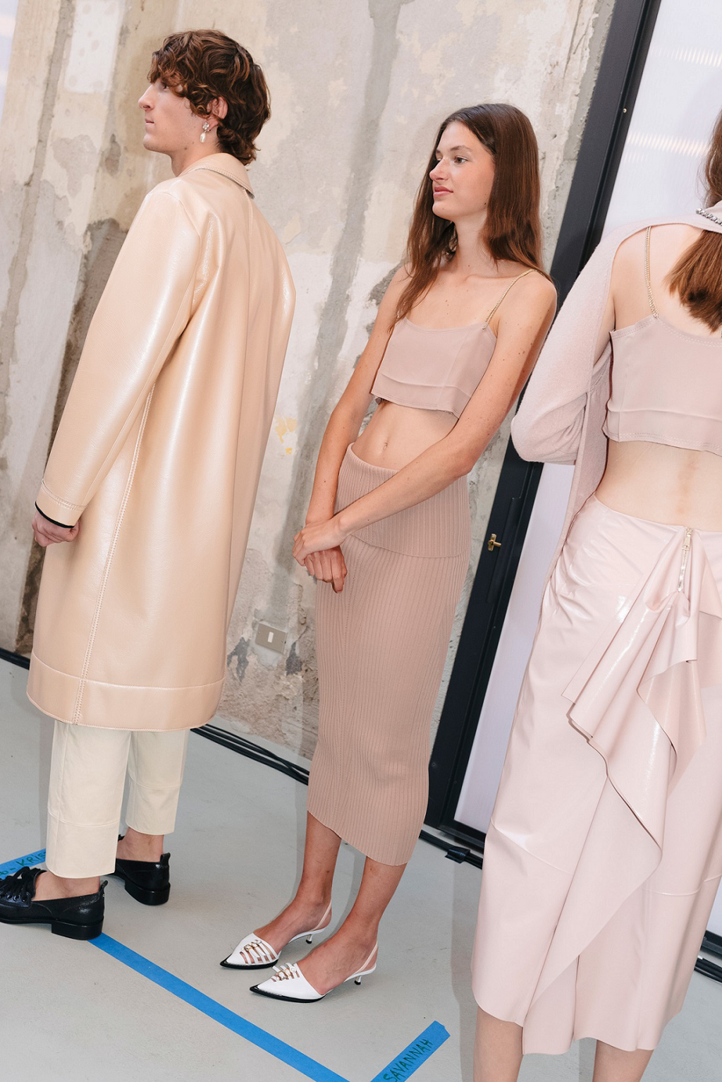 nude, nude color, N21, knitwear, skirt, pencil skirt, top, coat