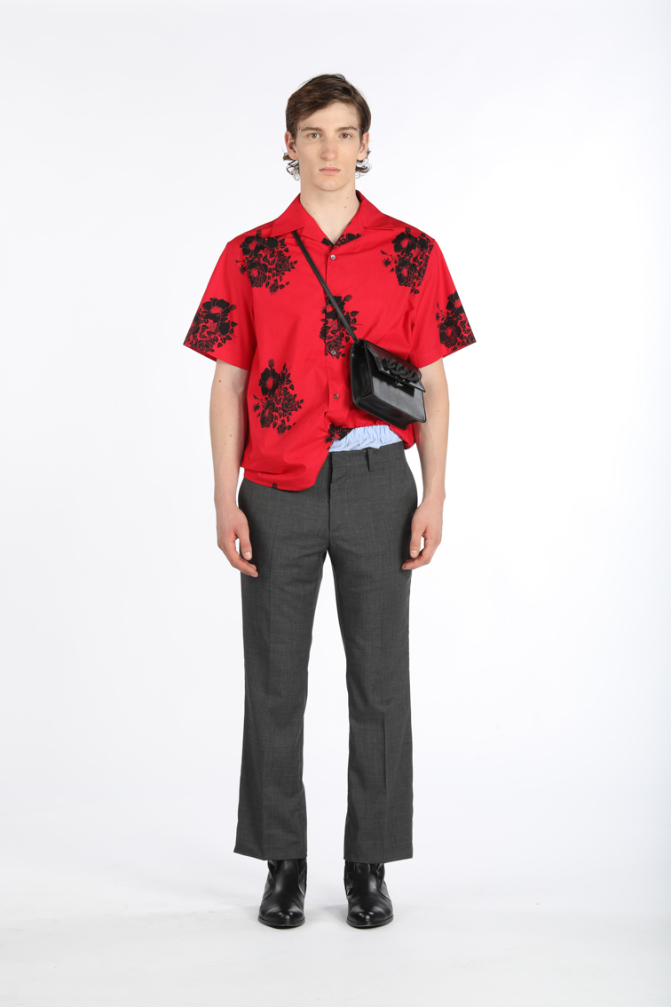 N21, men, shirt, floral print, red, trousers